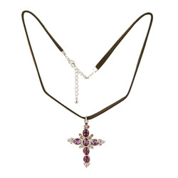 Purple Cubic Zirconia Cross Necklace