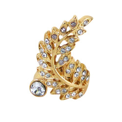 Spiral Feather Ring Bejeweled Gold Tone