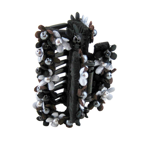 Bead and Floral Hair Claw Black
