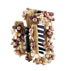 Bead and Floral Hair Claw Beige