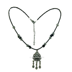Victorian Black Marcasite Beads Necklace