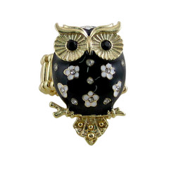 Owl Ring Stretch Band Black Jeweled