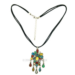 Ethnic Multi Color Beads Drop Necklace