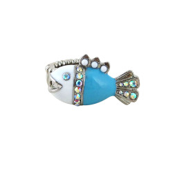 Silver Stretch Cocktail Ring Fish Ring Blue