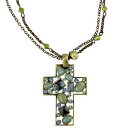 Vintage Style Beads Cross Necklace