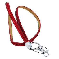 Glittering Beads Lanyard Red