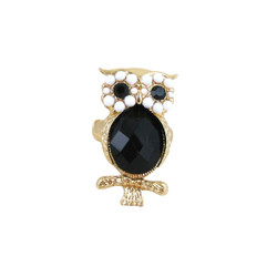 Owl Stretch Ring Gold Black