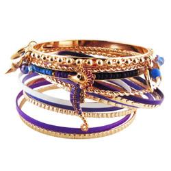 Ocean View Bracelet Bangle Set of Thirteen Purple