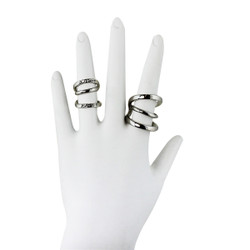 Four Piece Double Wave Ring Set Silver