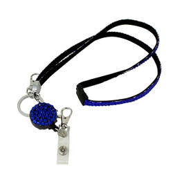 Glittering Beads Lanyard & Extendable Badge Reel Dark Blue