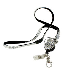 Glittering Beads Lanyard & Extendable Badge Reel Silver