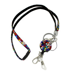 Glittering Beads Lanyard & Extendable Badge Reel Multi Colored
