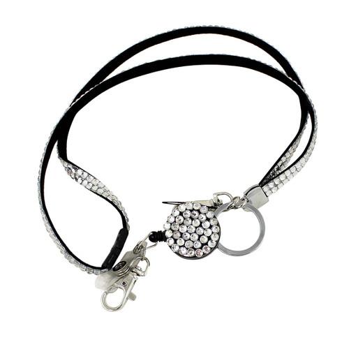 Glittering Beads Lanyard & Extendable Badge Reel White