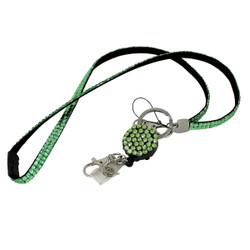 Glittering Beads Lanyard & Extendable Badge Reel Green