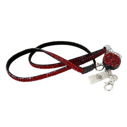 Glittering Beads Lanyard & Extendable Badge Reel Red