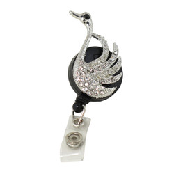 Crystal Swan Badge Reel Black