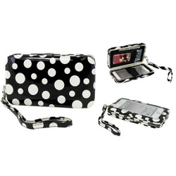 Cell Phone and Wallet Wristlet Black with White Polka Dots