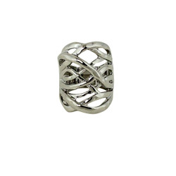Hammered Swirling Bands Ring Silver