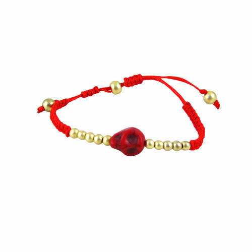 Rockabilly Skull Bracelet Red