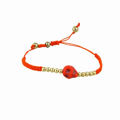 Rockabilly Skull Bracelet Orange