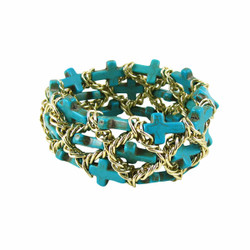 Turquoise Chain Linked Cross Bracelet