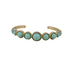 Gold Cuff with Beads Seafoam Green