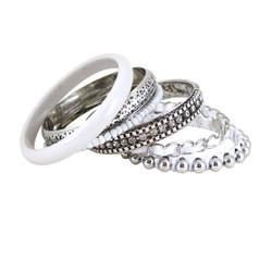 Bracelet Bangle Set of Six White