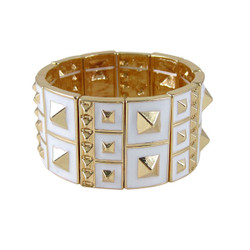 Studded Stretch Bracelet Gold Toned White
