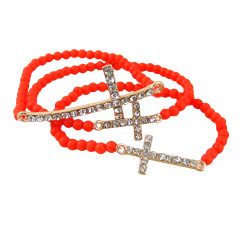 Triple Cross Beaded Stretch Bracelet Coral