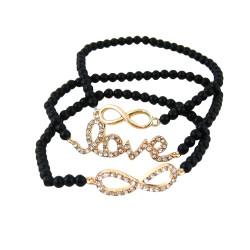Triple Beaded Stretch Bracelet Love Infinity Black