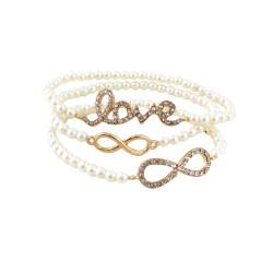 Triple Beaded Stretch Bracelet Love Infinity White