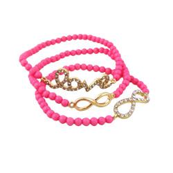 Triple Beaded Stretch Bracelet Love Infinity Fuchsia