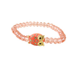 Crystal Cut Beaded Stretch Owl Bracelet Pink