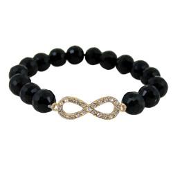 Infinity Beaded Stretch Bracelet Black