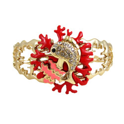 Dolphin Coral Reef Bangle Stretch Bracelet Bejeweled Red