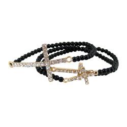 Triple Cross Beaded Stretch Bracelet Black