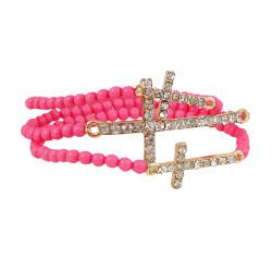 Triple Cross Beaded Stretch Bracelet Pink