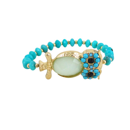 Beaded Stretch Owl Bracelet Gold Blue
