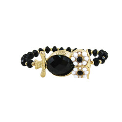 Beaded Stretch Owl Bracelet Gold Black