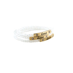 Love Charm Set of Three Stretch Bracelets White