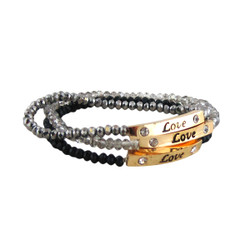 Love Charm Set of Three Stretch Bracelets Black & Silver