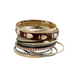Owl Bangle Bracelet Set Brown
