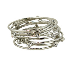 Daring Crystal Embellished Bangles Set of 9 Silver