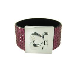 Glittering Bracelet Heart Clasp Magenta