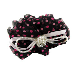 Pearls and Polka Dot Hair Claw Pink and Black