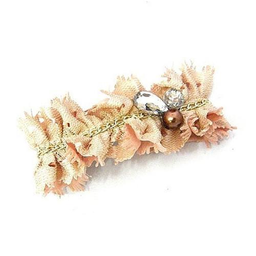 Bejeweled Chain Fabric Hair Barrette Pink