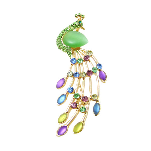 Bejeweled Peacock Gold Pin Pendant Green