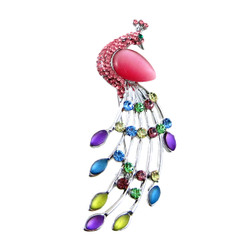 Bejeweled Peacock Silver Pin Pendant Pink