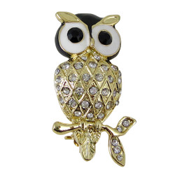 Gold Owl Brooch with Black Eyes