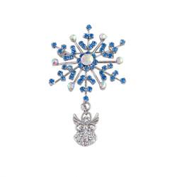 Angel Riding A Snowflake Blue